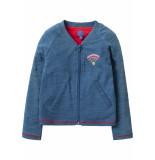 Oilily Teddia jersey cardigan 53 solid indigo with i love wifi- blauw
