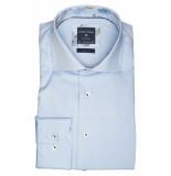 Profuomo Ppqh3a1100 business overhemden met lange mouwen 100% katoen blauw