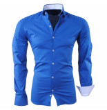 RDX Heren overhemd biker look slim fit stretch donker blauw