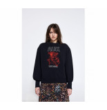 Alix 198846412 ladies knitted alix washed sweater zwart