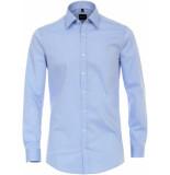 Venti Heren overhemd effen licht kent poplin body fit blauw
