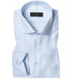 John Miller Heren overhemd wide spread slim fit tape blauw