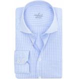 van Laack Rivara heren overhemd ruit poplin cutaway tailored fit blauw