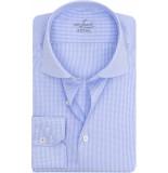 van Laack Rivara heren overhemd ruit poplin cutaway ml7 blauw