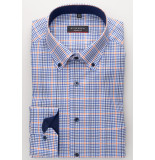 Eterna Heren overhemd en oranje fijn geruit button-down modern fit blauw