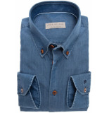 John Miller Heren overhemd denim button-down tailored fit blauw