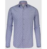 Blue Industry Heren overhemd licht zwarte stip semi spread perfect fit blauw