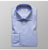 Eton Heren overhemd licht twill stretch contemporary fit cutaway blauw
