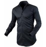 Circle of Gentlemen Heren overhemd ayse zwart cutaway stretch slim fit