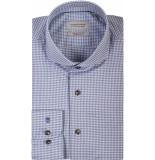 Thomas Maine Heren overhemd pied de poule cutaway tailored fit blauw