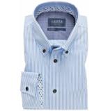 Ledûb Overhemd streep print modern fit non iron blauw