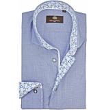 Circle of Gentlemen Heren overhemd batu pied de poule dessin slim fit blauw