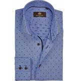 Circle of Gentlemen Overhemd ben stippen dobby slim fit blauw