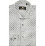 Circle of Gentlemen Overhemd brently blad print herringbone slim grijs