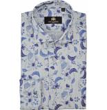 Circle of Gentlemen Overhemd brad linnen blader print cutaway slim fit