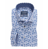 Ledûb Overhemd wit en schelpen print semi spread tailored fit blauw