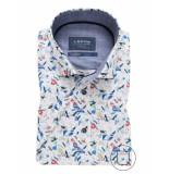Ledûb Overhemd gekleurde vogel print korte mouwen stretch tailored fit wit