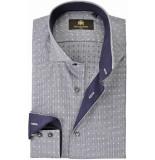 Circle of Gentlemen Overhemd cees pied de poule contrast slim fit grijs