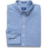 Gant Heren overhemd college geruit button-down poplin regular fit blauw