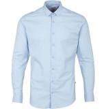 Kronstadt Heren overhemd dean stretch licht poplin slim fit blauw