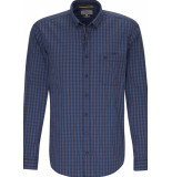 Camel Active Heren overhemd geruit button-down regular fit blauw