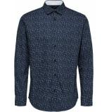 Selected Homme Heren overhemd oxford witte bloem print slim fit