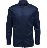 Selected Homme Heren overhemd fine twill donker zwarte knopen slim fit