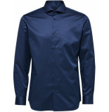 Selected Homme Heren overhemd donker twill cutaway regular fit blauw