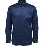 Selected Homme Heren overhemd donker twill cutaway regular fit