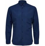 Selected Homme Heren overhemd donker linnen kent slim fit
