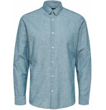 Selected Homme Heren overhemd groen teal linnen kent slim fit blauw