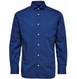 Selected Homme Heren overhemd donker cutaway dobby slim fit