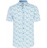 Desoto Heren overhemd korte mouw wit sea inspired button down slim blauw