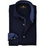 Circle of Gentlemen Overhemd micro print jersey cutaway slim fit blauw