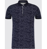 Blue Industry Heren poloshirt blauw bloemprint pique weving casual fit