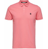 Selected Homme Heren poloshirt zalm stretch pique slim fit roze