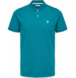 Selected Homme Heren poloshirt azuur stretch pique slim fit groen