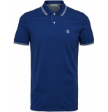 Selected Homme Heren poloshirt donker witte details stretch pique regular fit blauw