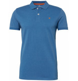 Tom Tailor Heren poloshirt oranje tape gestikt logo pique regular fit blauw