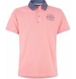 HV Polo Society poloshirt jayson pink blue oxford collar roze