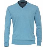 Casamoda Heren trui licht v-hals katoen blauw