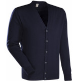 Jacques Britt Cardigan blauw merino wol slim fit