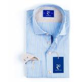 R2 Westbrook Heren overhemd streep beige contrast oxford modern fit