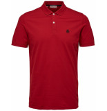 Selected Homme Heren poloshirt stretch pique slim fit rood