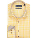 Sleeve7 Heren overhemd gele ruit bruin contrast poplin