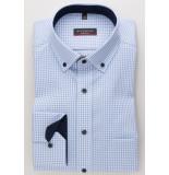 Eterna Heren overhemd licht geruit modern button-down borstzak modern fit blauw