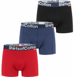 ShirtsofCotton Heren boxershorts multicolor zwart navy rood 3-pack