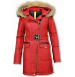 Milan Ferronetti Lange winterjas met bontkraag winter parka jas rood