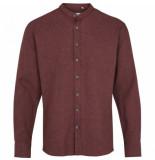 Kronstadt Dean henley overhemd bordeaux flanel rood
