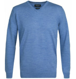 Profuomo Heren trui merino wol v-hals slim fit blauw